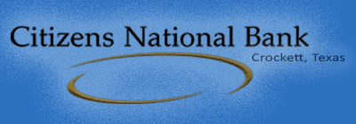 Citizens National Bank of Crockett Texas, logo and link to the banks home page.